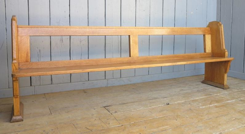 solid oak reclaimed church pew waxed unusueal seating sold happy customer photograph