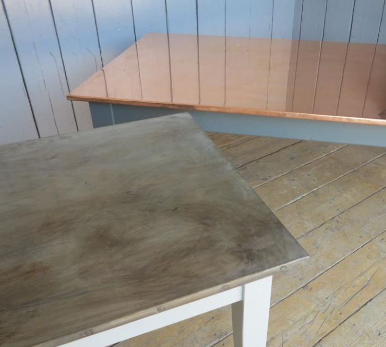 bespoke table tops worktops kitchen zinc copper antique distressed natural matt samples metal dining