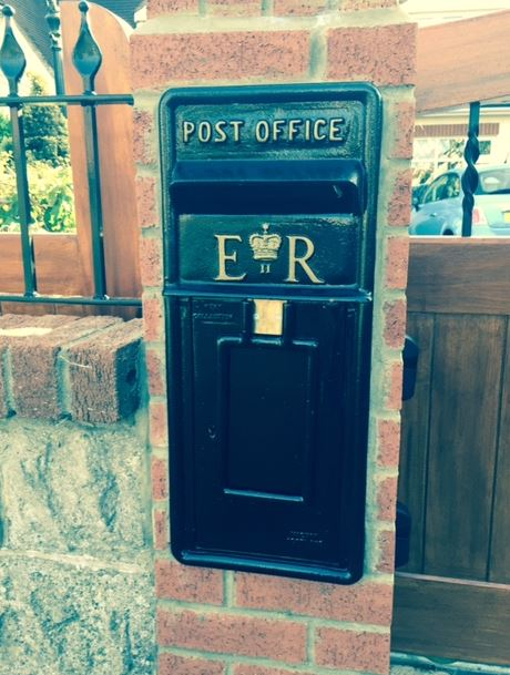 original royal mail post box ER elizebeth wall mounted arch back post mounted black red gold happy customer photograph wedding letter