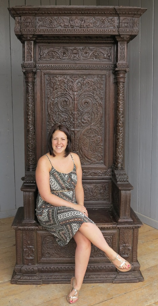 seat seating chair throne wood hand carved detailed ornate storage lift up seat tall antique reclaimed