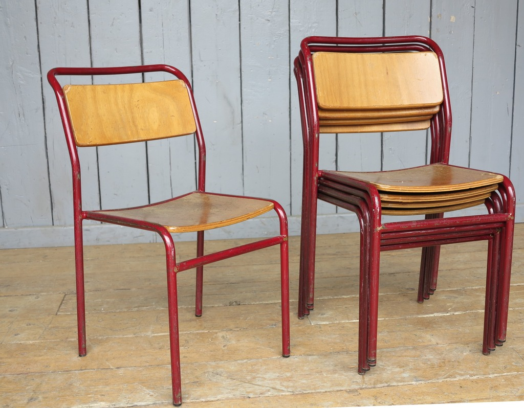 Reclaimed Antique Steel Tubular Stacking Chairs Seats Seating Restaurant Pub Shop Home Dining Room Kitchen Wood Plywood Red Grey Gray