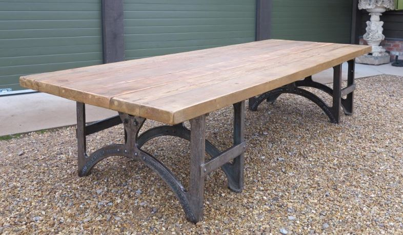 Substantial Wooden Pine Reclaimed Table Metal Base Matching Long Dining Room Hand Made