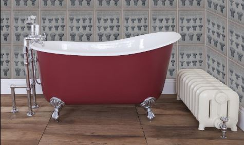 Bespoke Cast Iron Copper Nickel Painted Bath Chrome White Feet Double Slipper Single Slipper Roll Top Stand Alone Centrepiece Carron