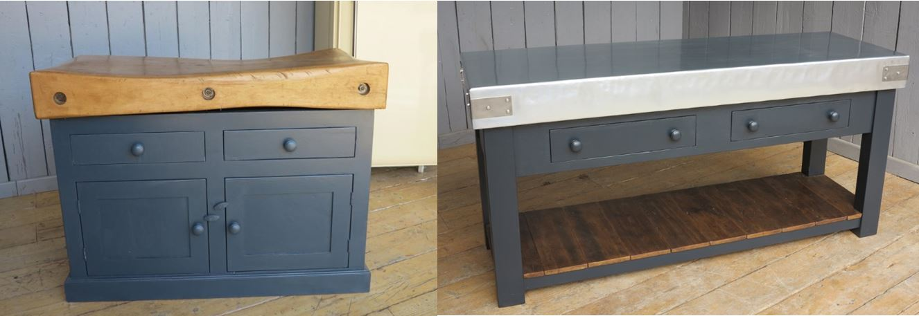 Butcher Block Chopping Cutting Worktop Work Surface Zinc Wood Reclaimed Antique Bespoke Painted Shelf Cupboard Drawer