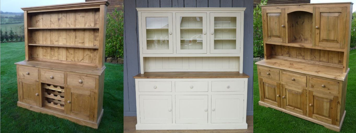 Bespoke Kitchen Dresser Reclaimed Pine painted Distressed Dining Storage Shelves Cupboards Drawers