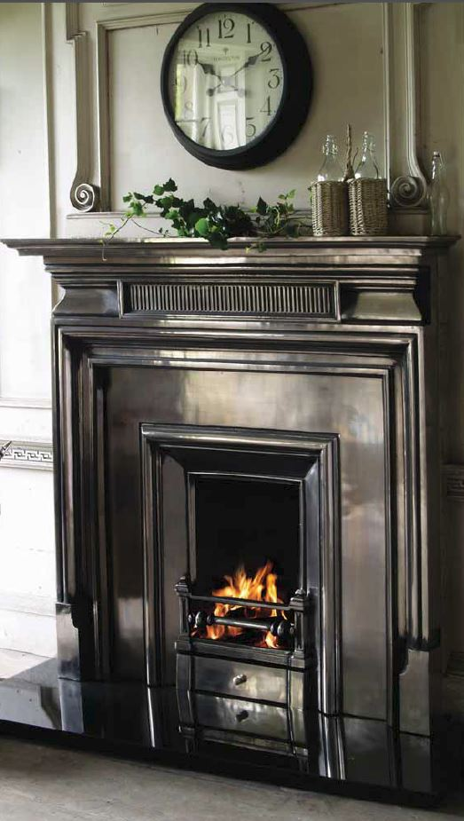 Fireplace Fire Insert Surround Cast Iron Pine Oak Full Polish Black Tiled Hearth Ornate Plain Victorian Royal Belgrave Carron