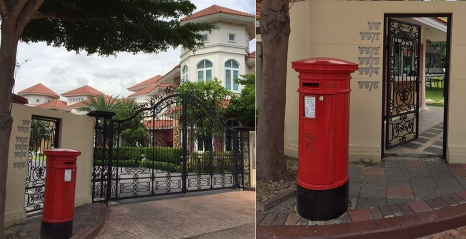 Post Box Pillar Box Original Royal Mail Victoria VR Red Bangkok Shipping Antique Restored Mail
