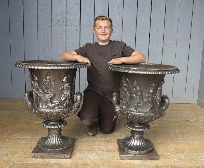 Cast Iron Hand Burnished Rare Antique Reclaimed Urn Pair Planters Pattern Ornate Tops Garden Wall