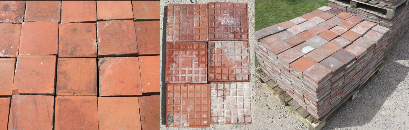 Reclaimed Quarry Tile Terracotta Orange Brown Genuine Original Patina Colour Flooring Tiles Hearth Garden Boarder