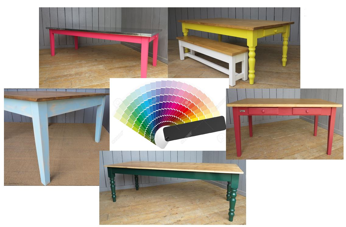 Table Bespoke Painted Colour Pink Blue Green Red Yellow Dining Resaurant Pub Tables Banquet Dining Room Long Short Square Round Floorboard Copper Zinc Plank Pine