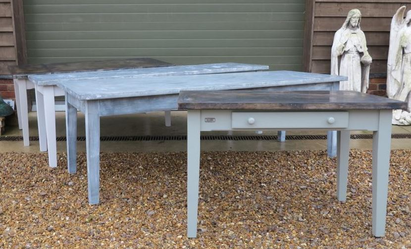 Bespoke Natural Zinc Copper Table Dining Seating Painted Square Round Waxed Wood