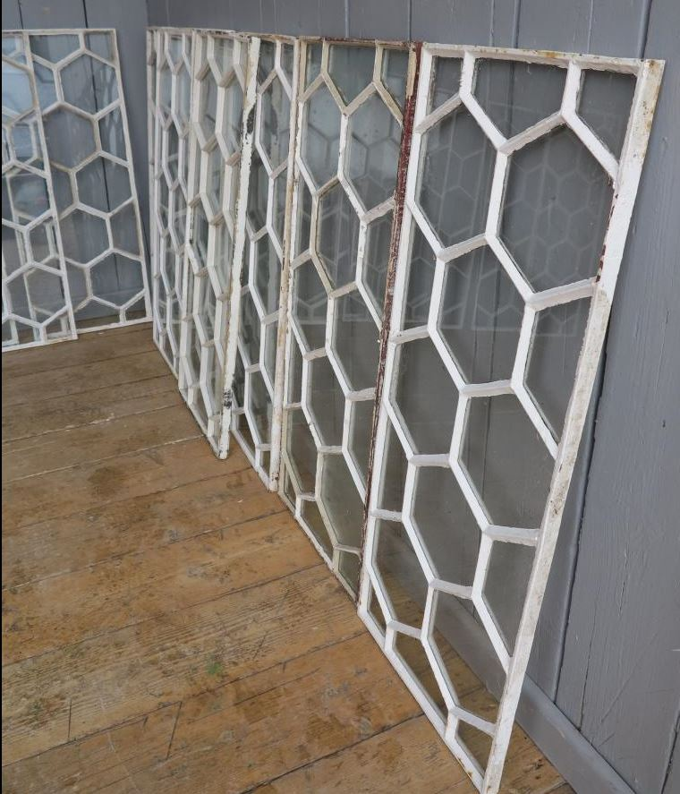 Cast Iron, Window, Glass, Mirror, Frame, Lattice, Pattern, Ornate, Rare, Antique, Reclaimed, Old, White, Good, Condition, Outdoor