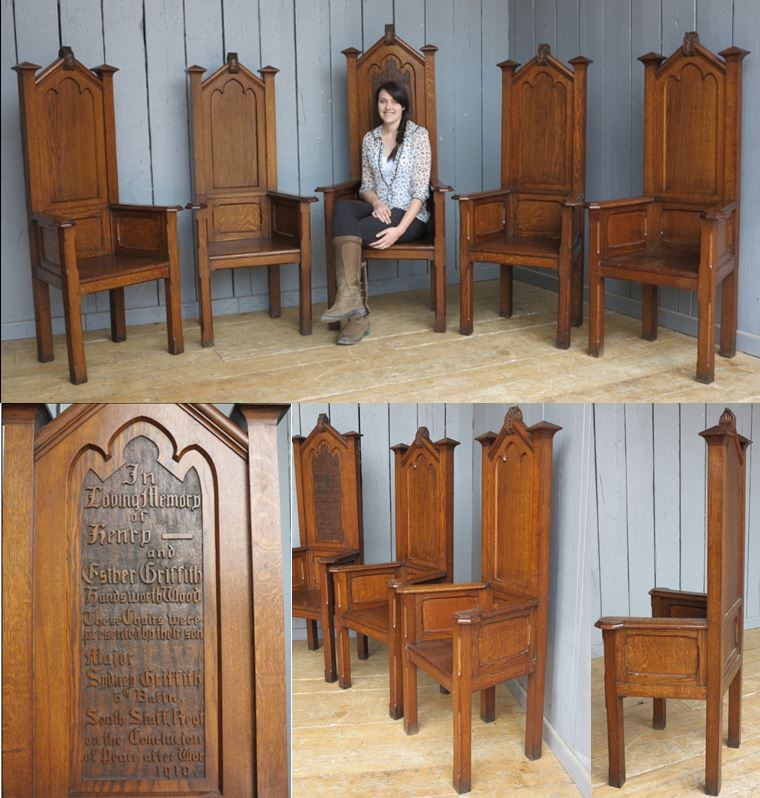 Church Chairs Altar Cathedra Solid Oak Hand Carved Script Rare Personal South Staffs Set Dining Seating