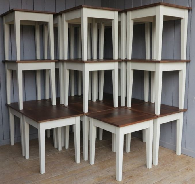 Pub tables and Restaurant tables made from reclaimed pine and painted in Farrow and Ball Paints