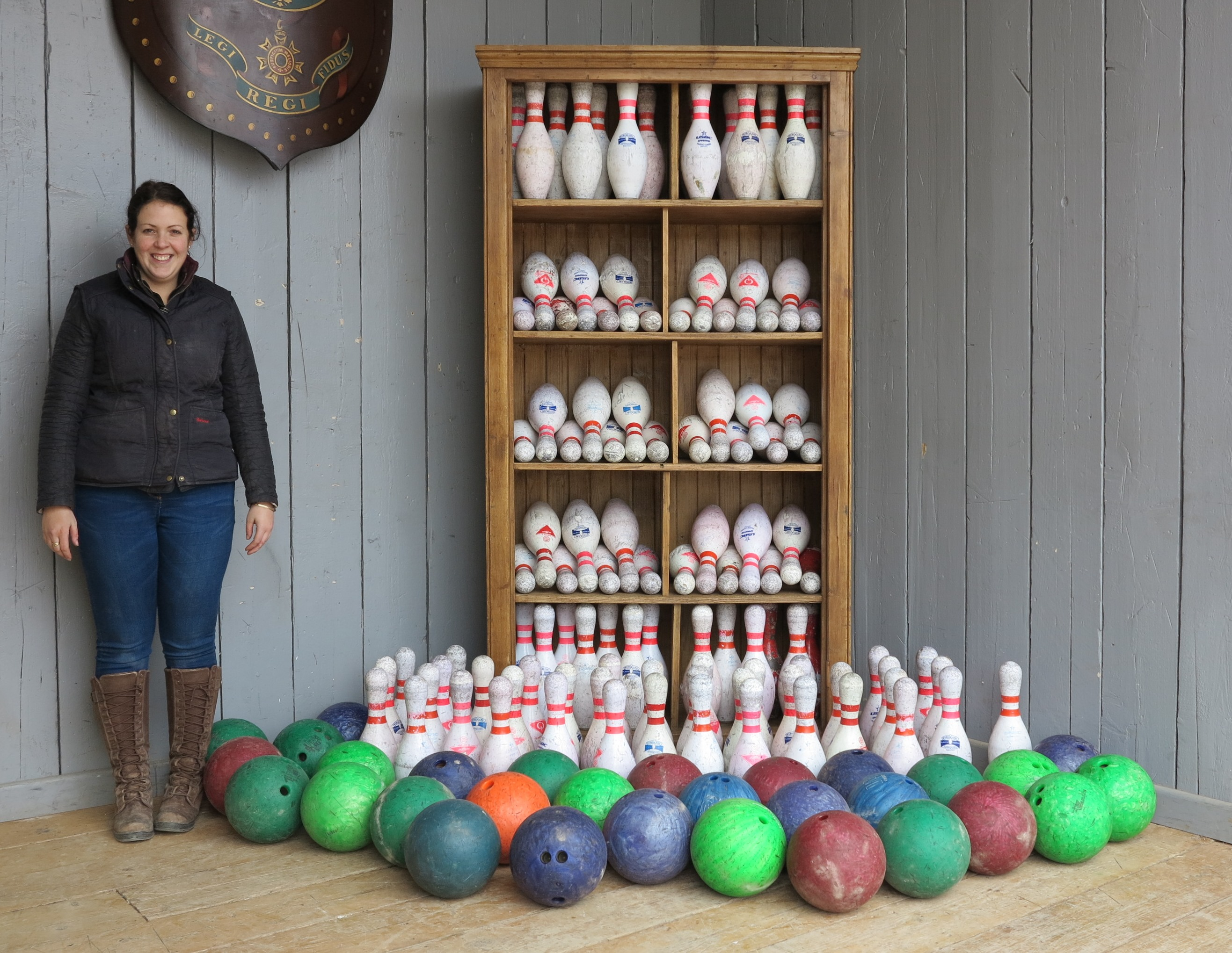 reclaimed original and vintage skittles and bowling balls for sale at UKAA. Circa 1970 from a reclaimed bowling alley.