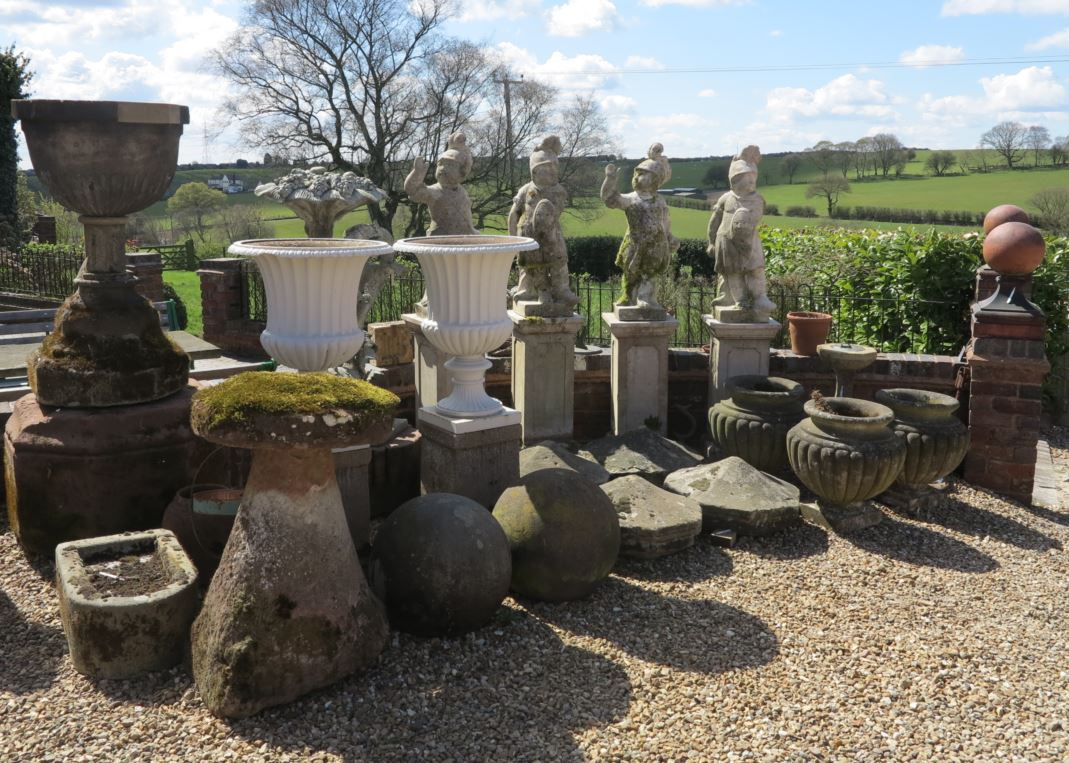 original Victorian reclaimed garden, vintage statues, wooden benches and cast iron garden seating, stone water features and fountains we have for sale.