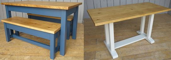 Bespoke reclaimed wooden topped tables made by hand from reclaimed plank and scaffold boards to suit requirements, bespoke bases painted in Farrow and Ball
