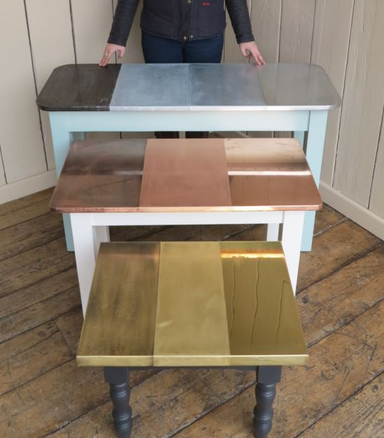 bespoke made to measure hand made metal topped tables for sale at UKAA, including copper, zinc and brass options. Turned tapered and square bases available