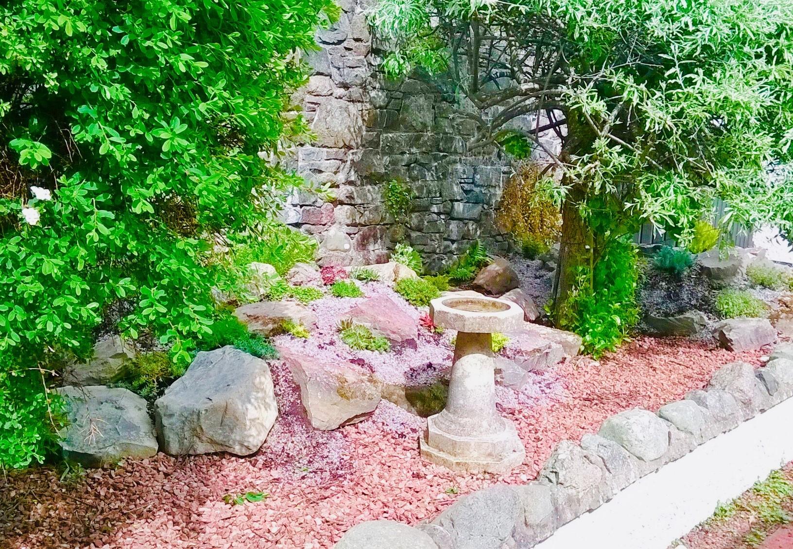 Antique Victorian stone bird baths in a happy customers traditional garden. Genuine reclaimed stone bird baths are perfect for traditional period gardens