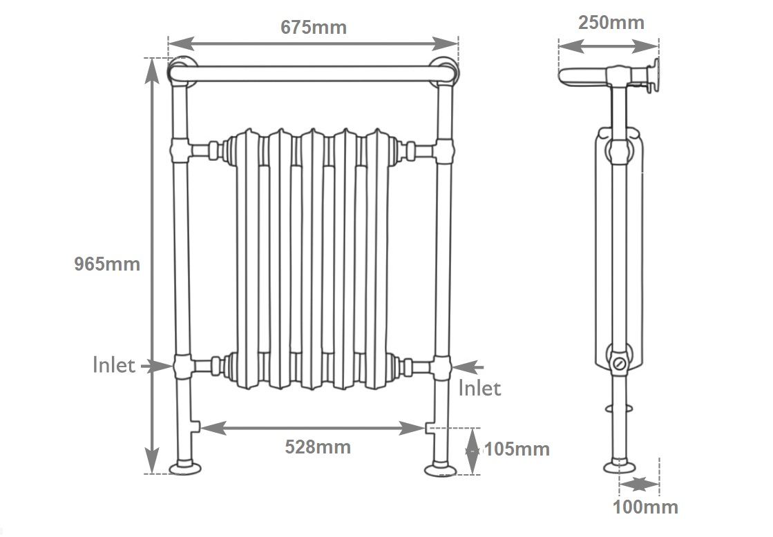 Carron Wilsford Towel Rail Dimensions