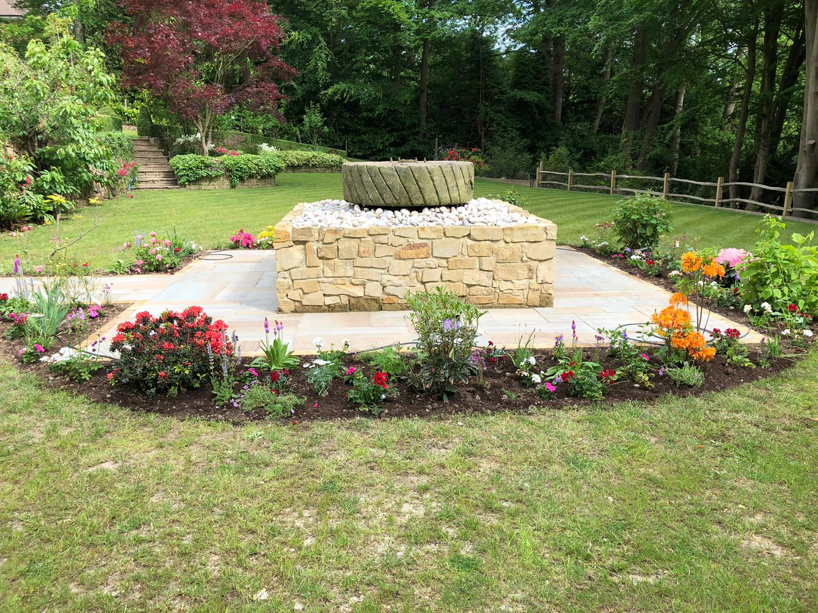 Old antique Mill Stones can be used as a water feature in a happy customers home