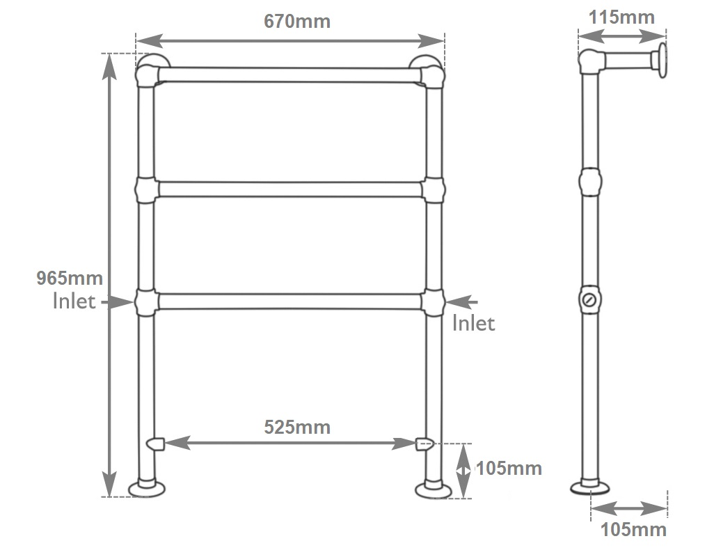 Carron Beckingham Towel Rail Dimensions