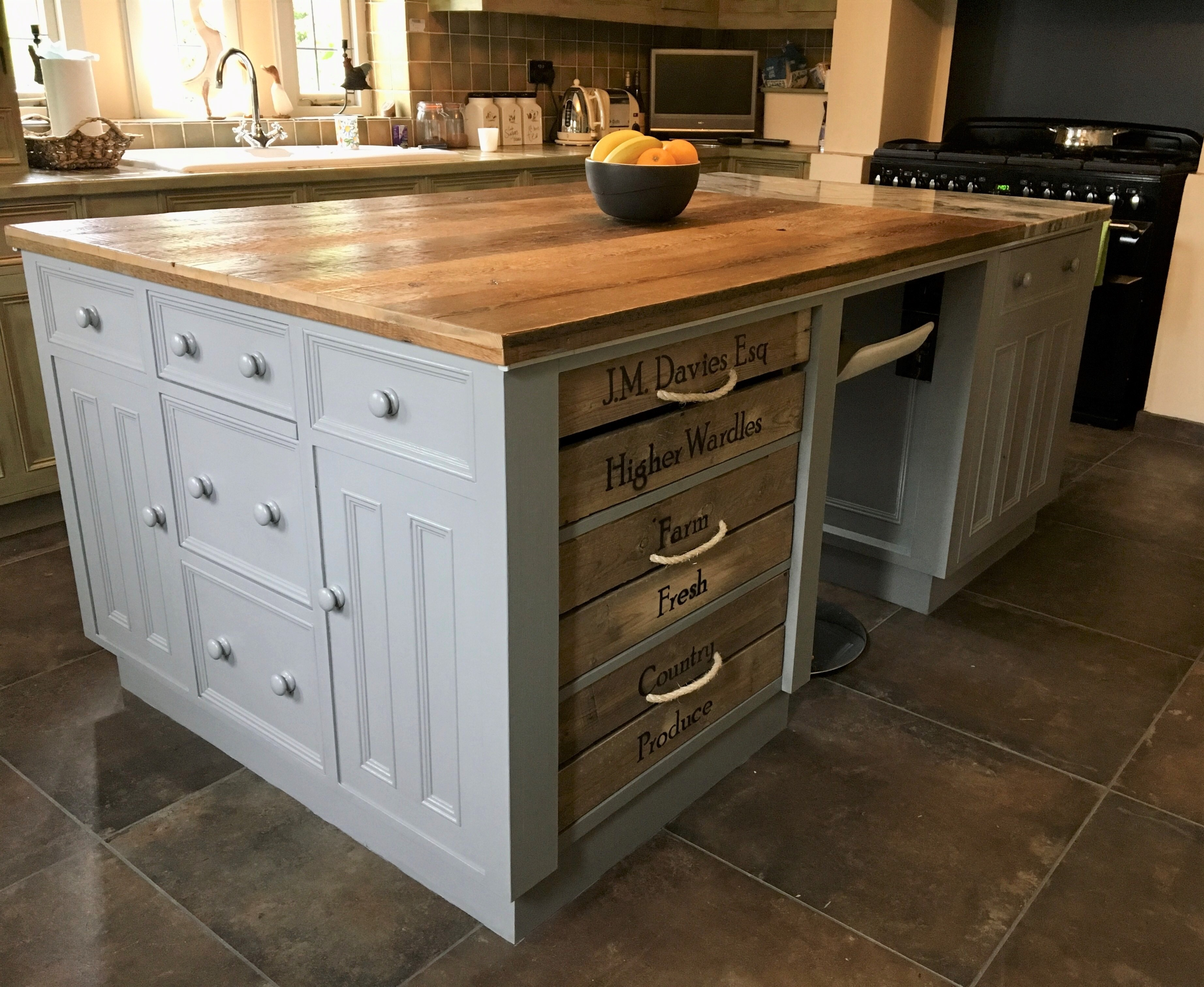 Genuine Victorian reclaimed floorboards are perfect for kitchen worktops and central islands
