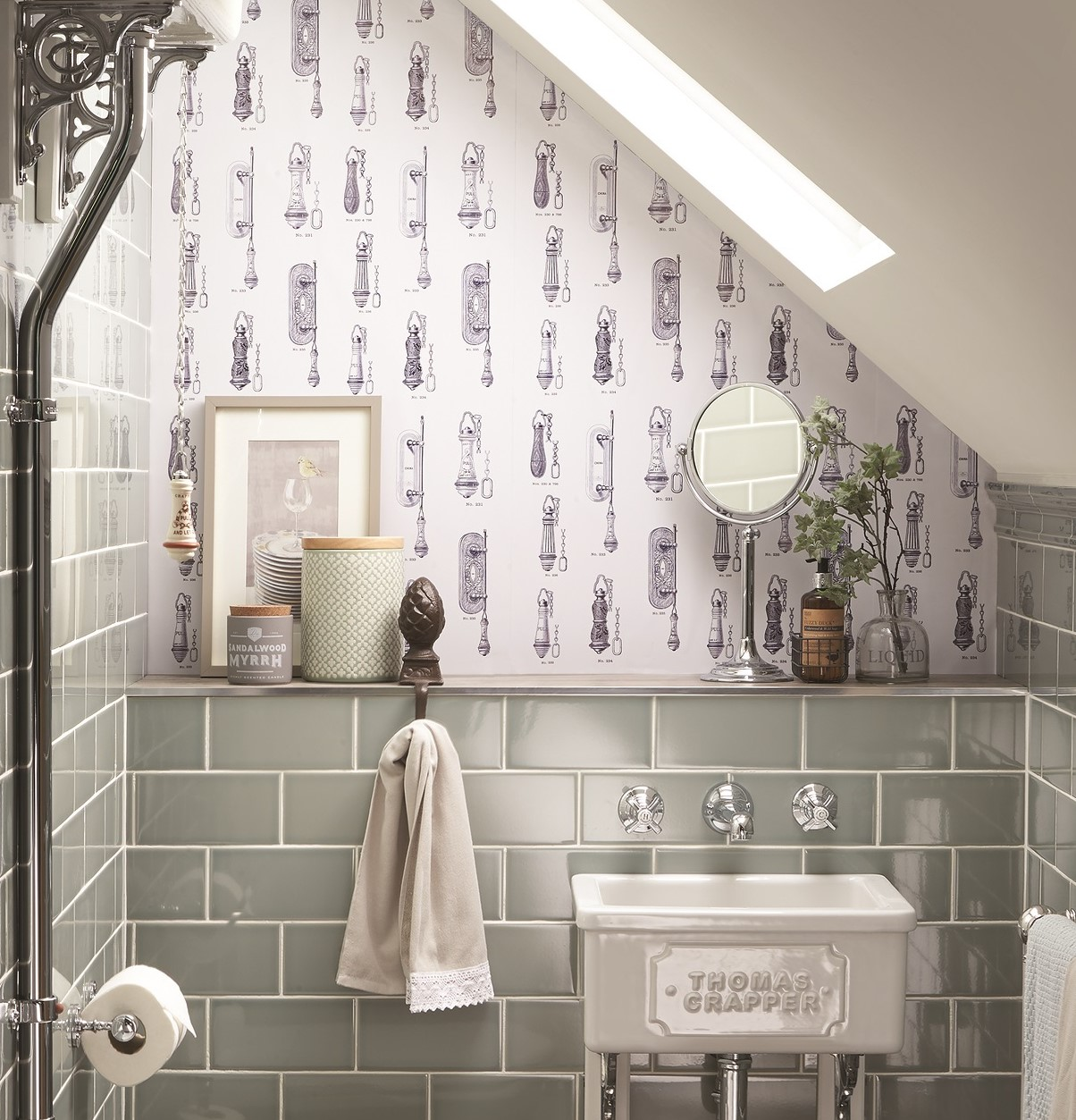 Thomas Crapper Cistern Pull Wallpaper Available to Buy Online at UKAA. Traditional Bathroom Wallpaper