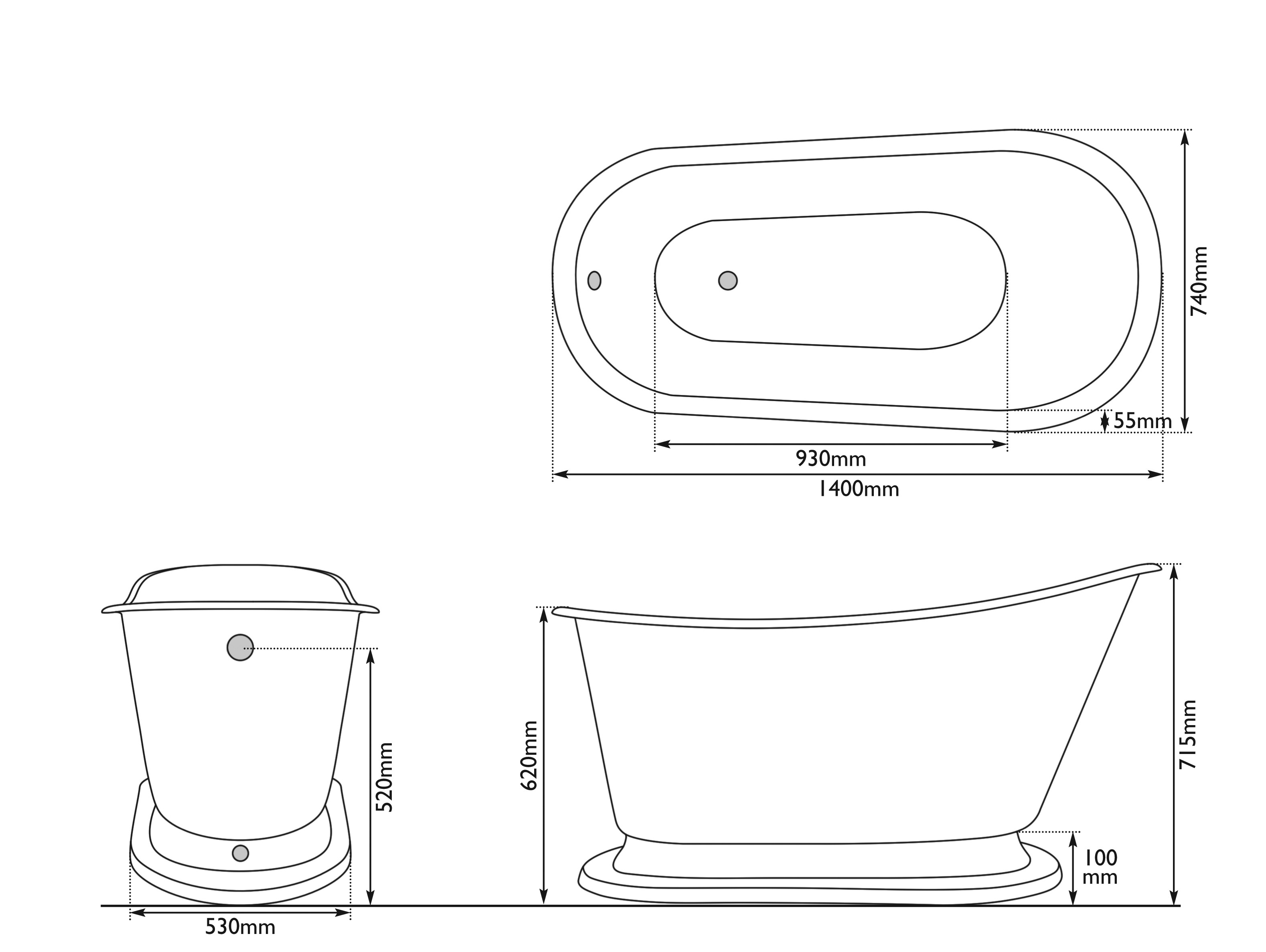 Dimensions Of Hurlingham Cameo Cast Iron Bath