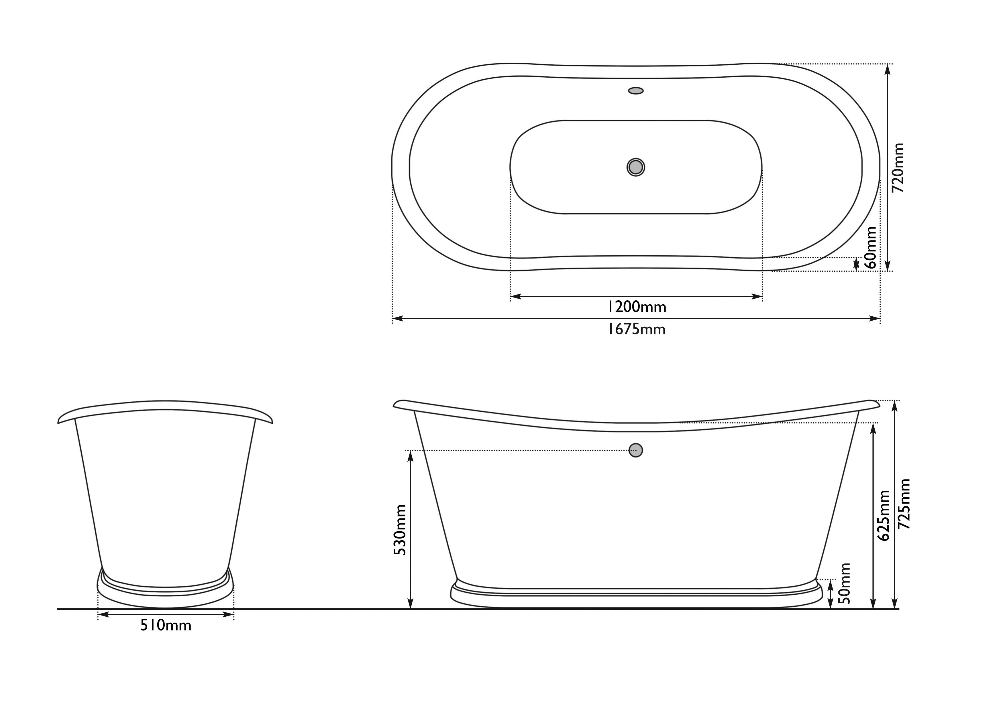 Dimensions Of Hurlingham Carvel Bateau Cast Iron Bath