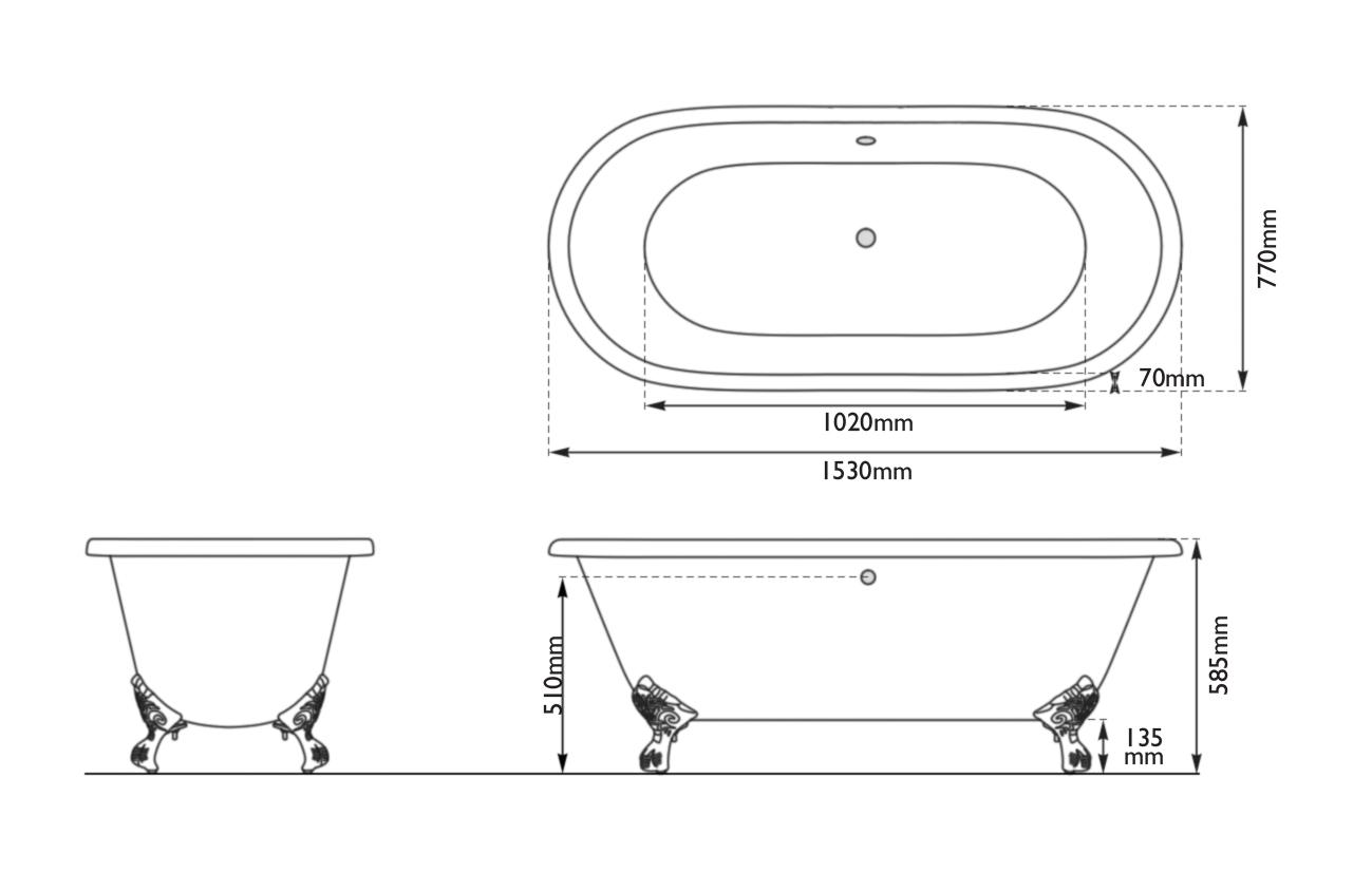 Dimensions Of Hurlingham Dryden Small Cast Iron Bath