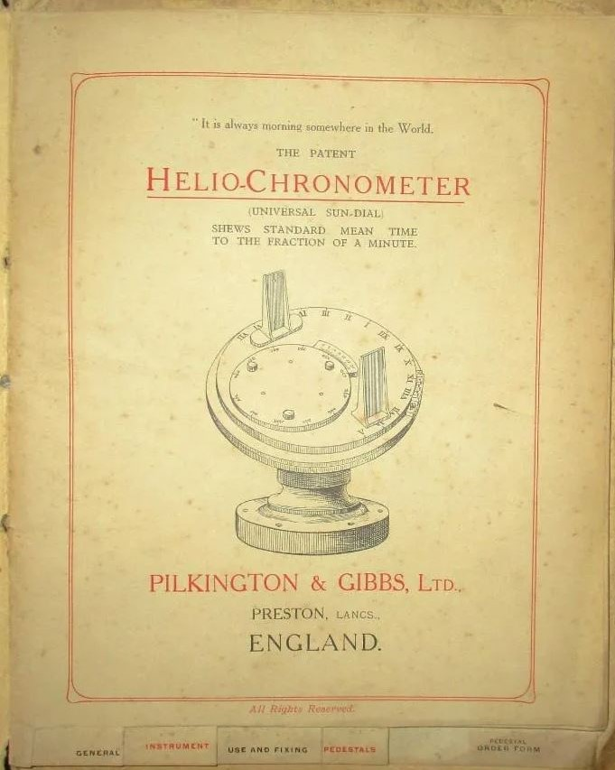 Showing The Pilkington Gibbs Heliochronometer Pages Out The Brochure