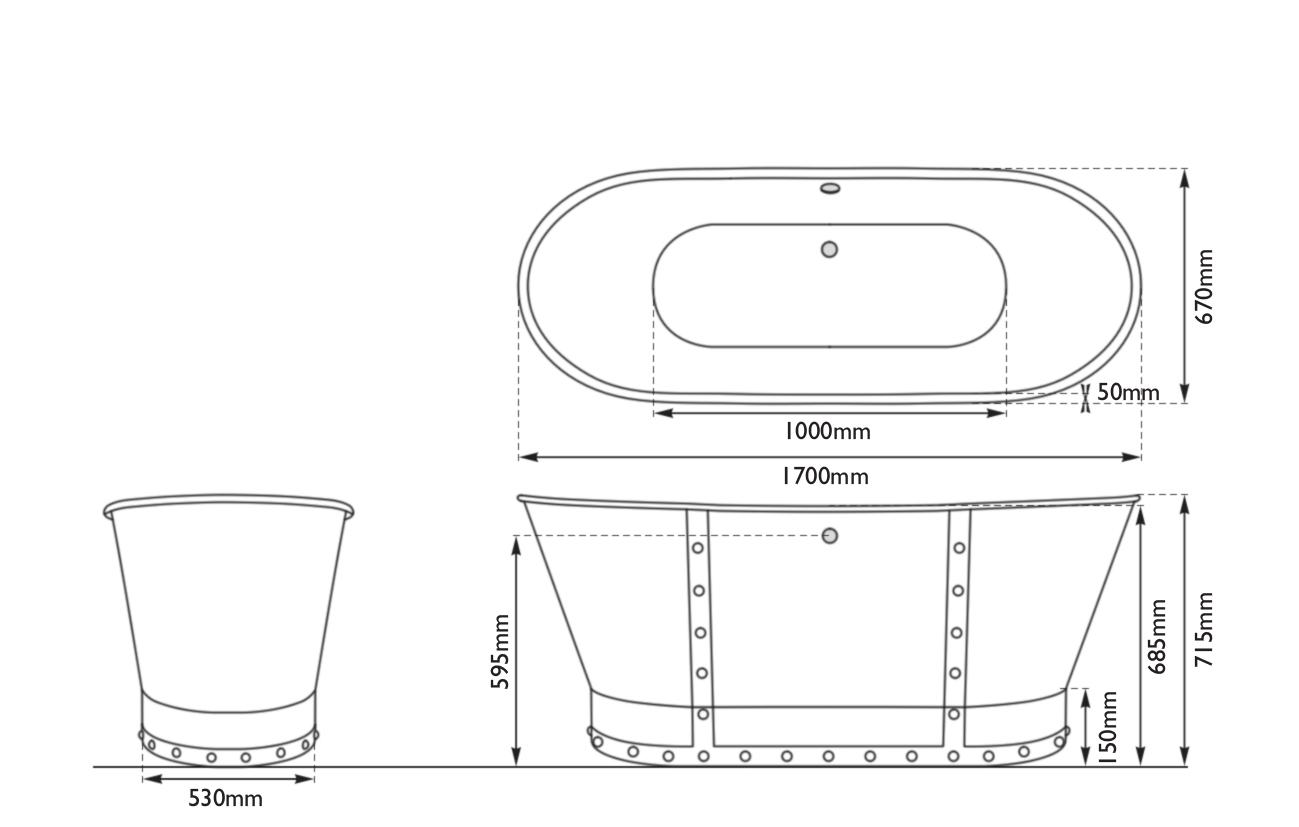 Dimensions Of Hurlingham Drayton Cast Iron Bath