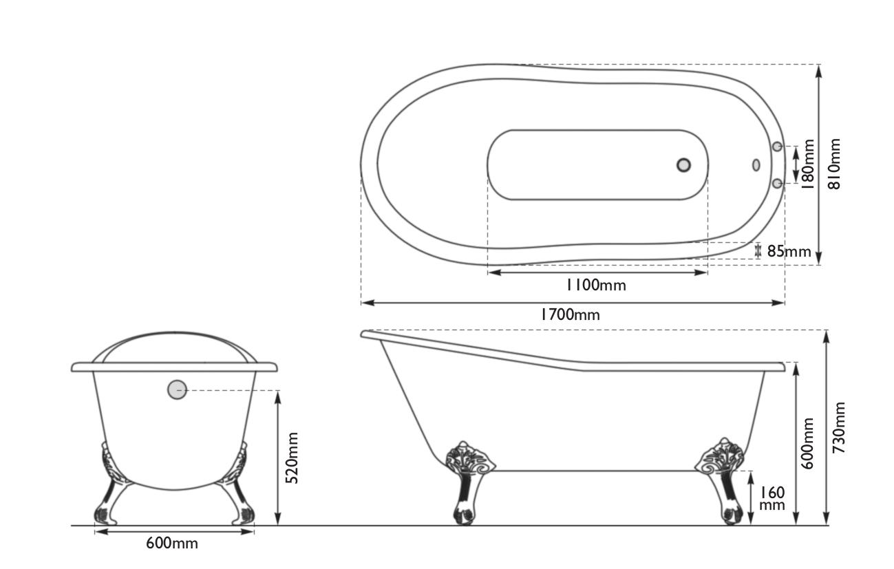 Dimensions Of Hurlingham Marlowe Cast Iron Bath
