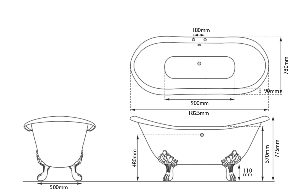 Dimensions Of Hurlingham Lindley Double Ended Cast Iron Bath