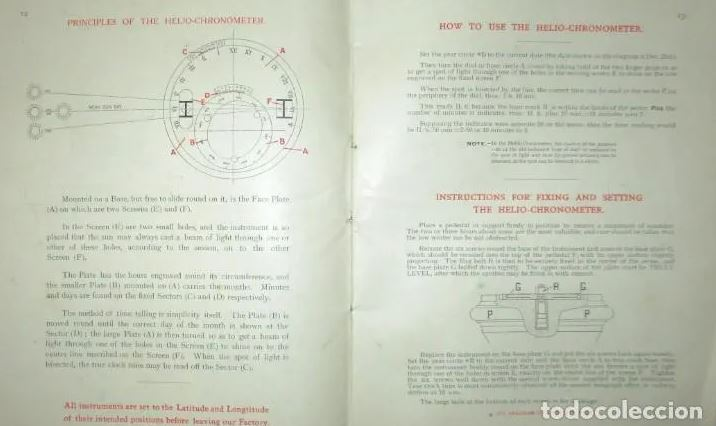 Original Catalogue of Pilkington Gibbs Heliochronometer