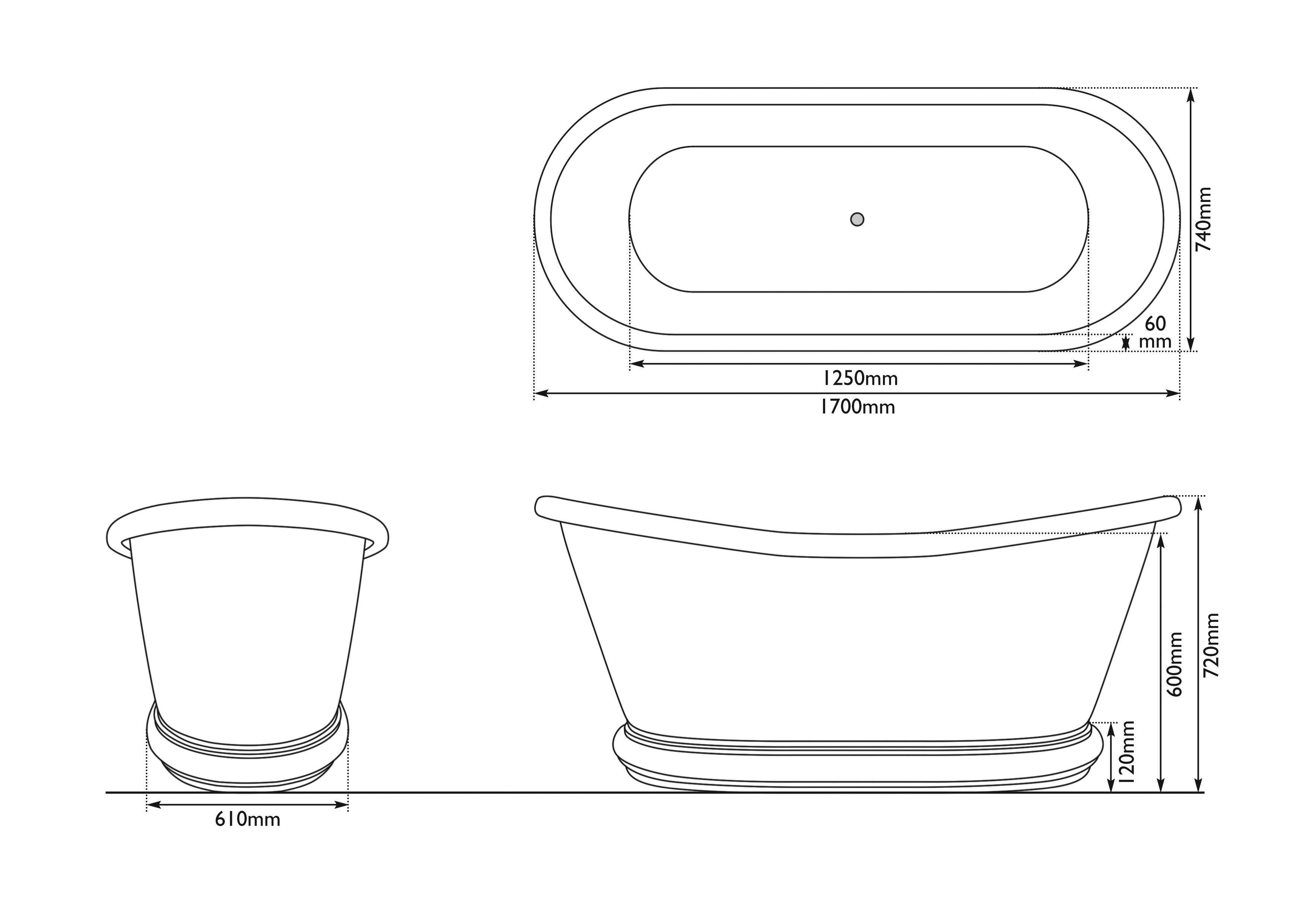 Dimensions Of Hurlingham Copper Bulle Copper Exterior and Nickel Interior Bath