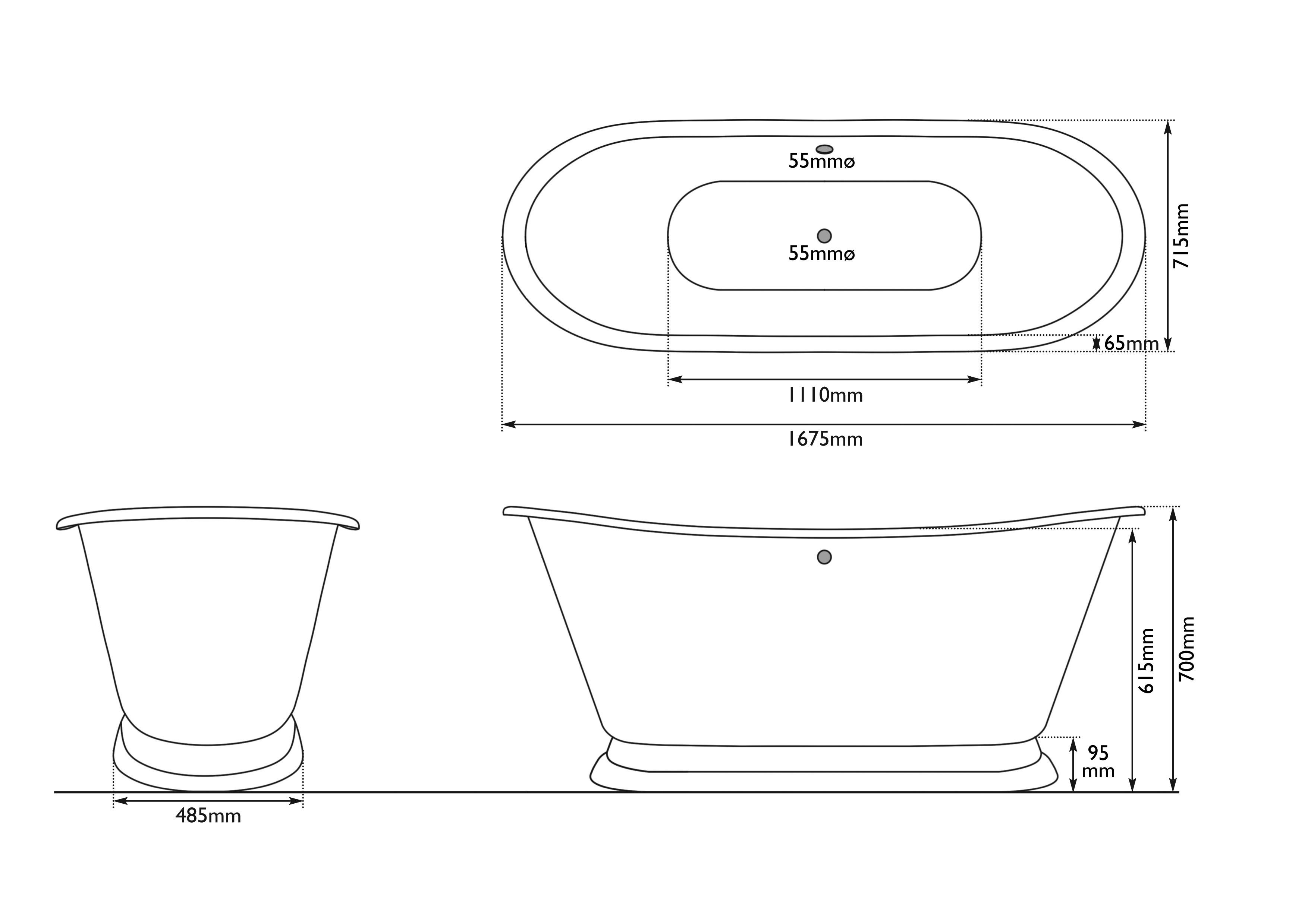 Dimensions Of Hurlingham Galleon Cast Iron Bath