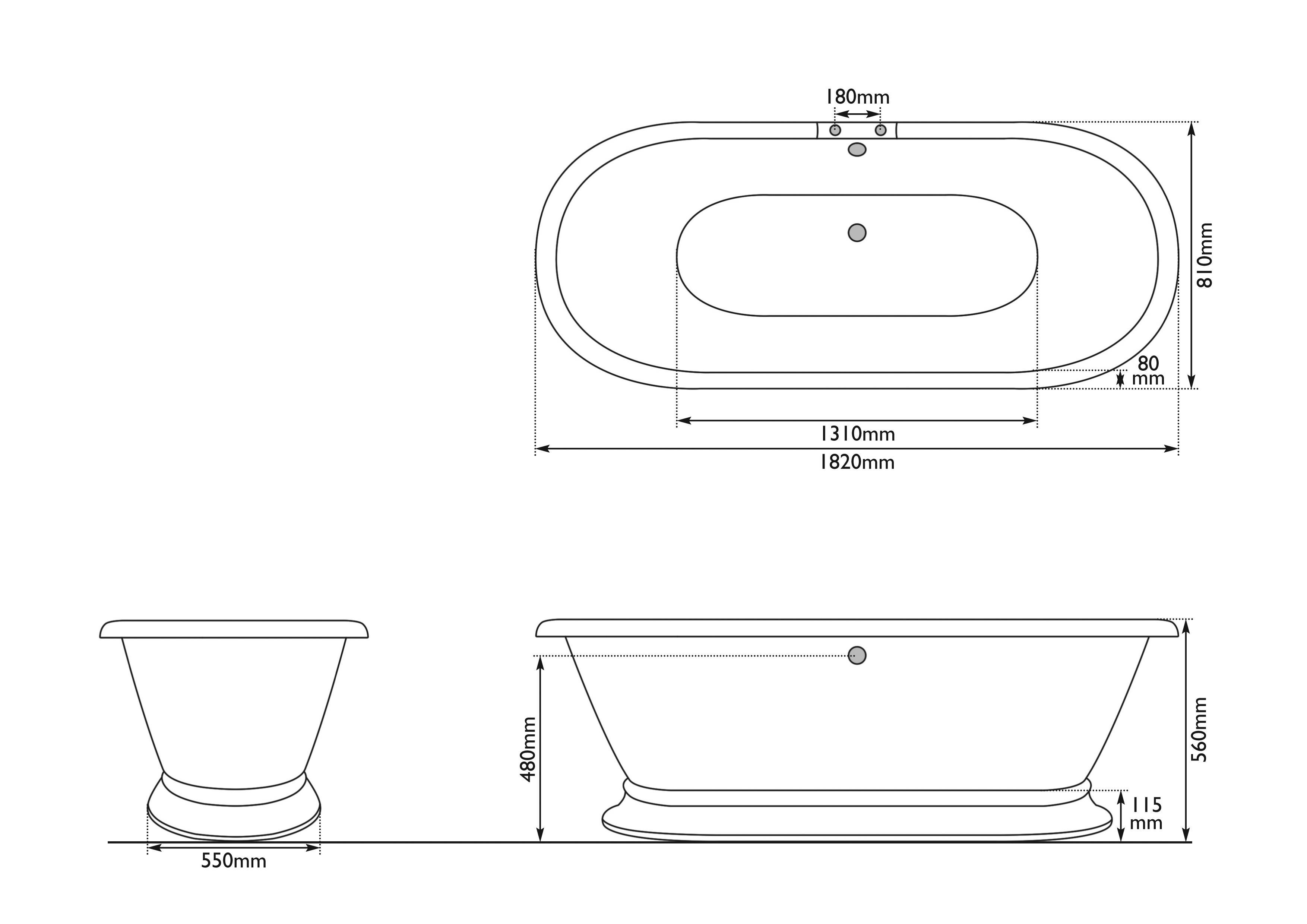 Dimensions Of Hurlingham Shikara Cast Iron Bath