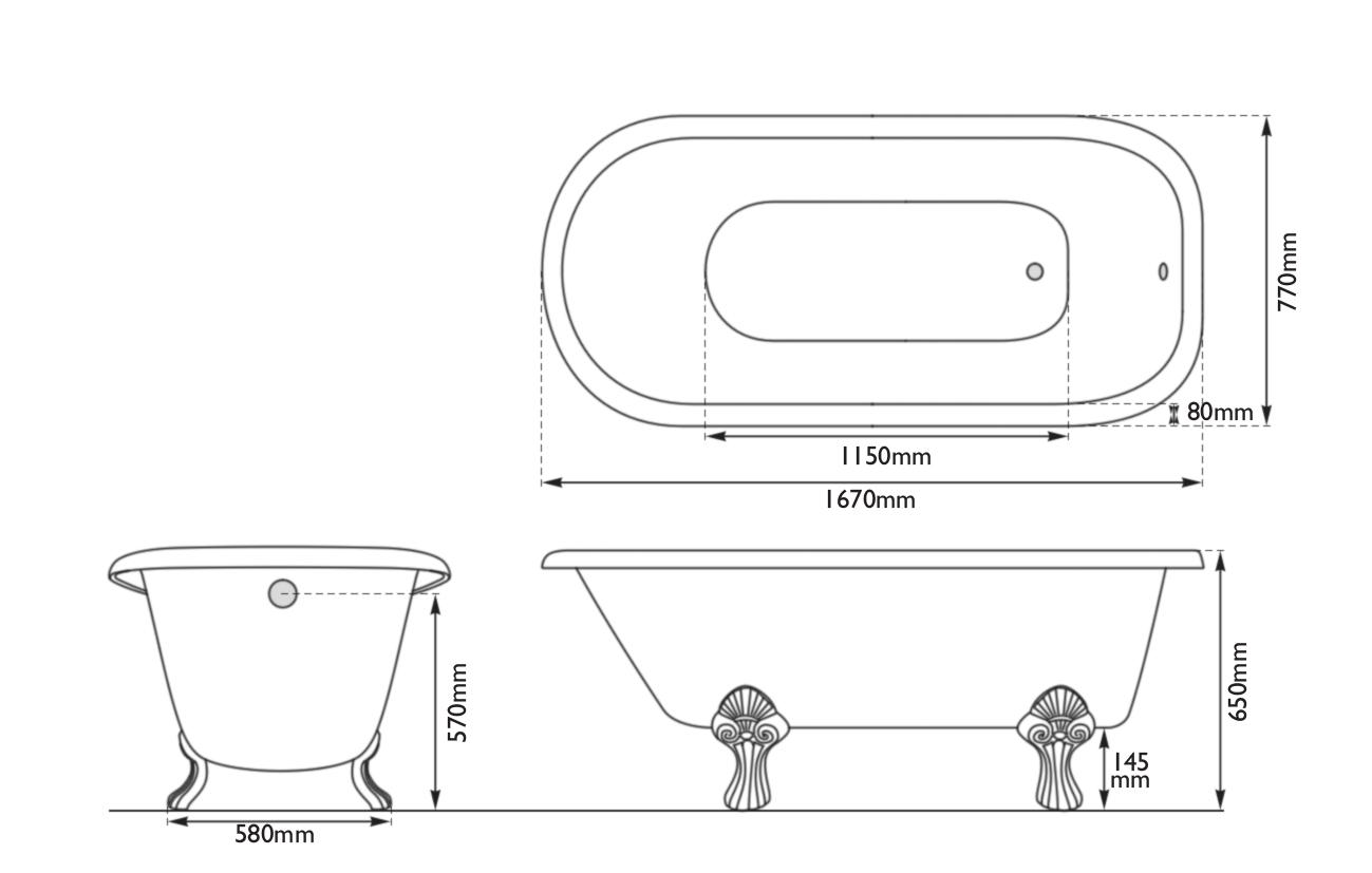 Dimensions Of Hurlingham Milton Single Ended Cast Iron Bath