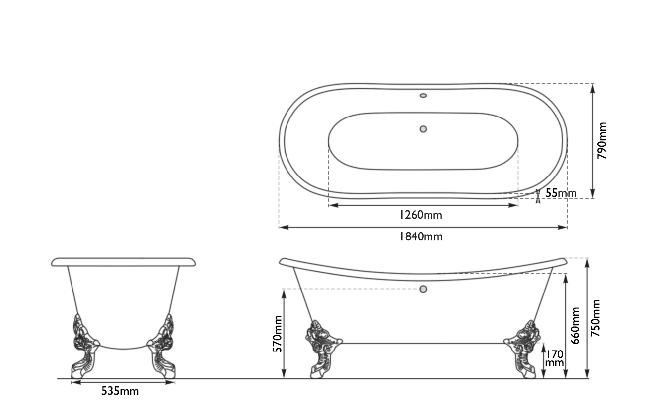 Dimensions Of Hurlingham Tebb Double Ended Cast Iron Bath