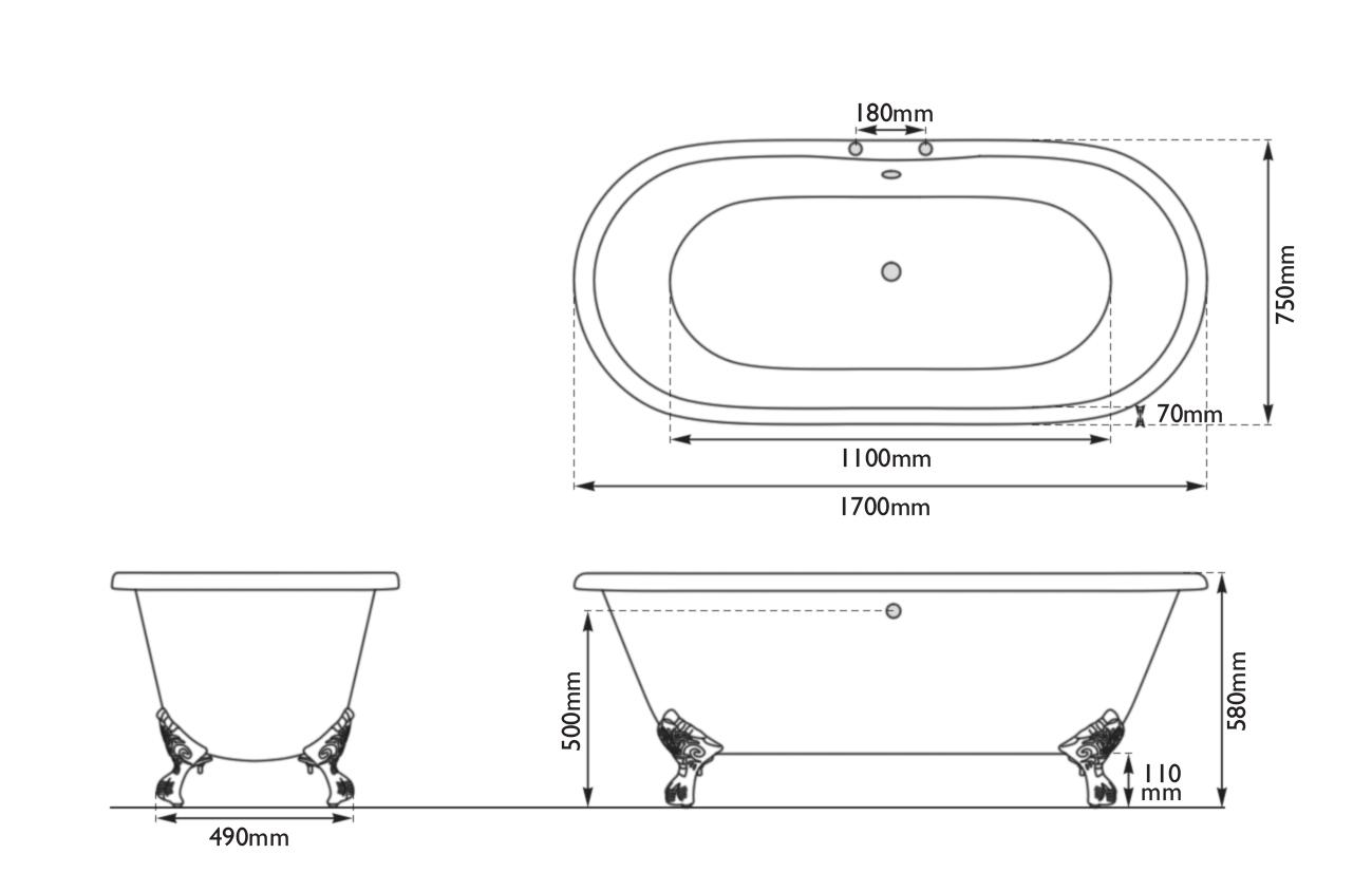 Dimensions Of Hurlingham Dryden Cast Iron Bath