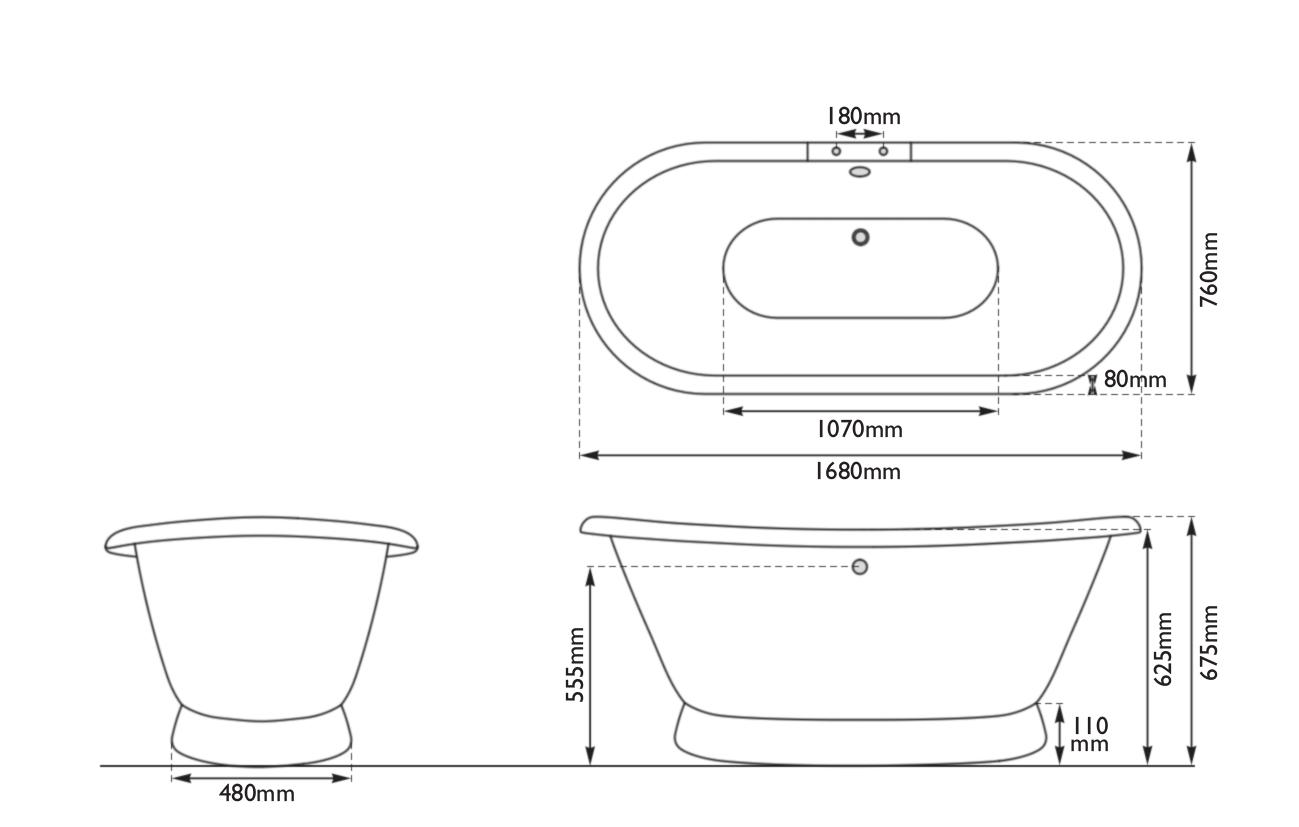 Dimensions Of Hurlingham Chaucer Cast Iron Bath