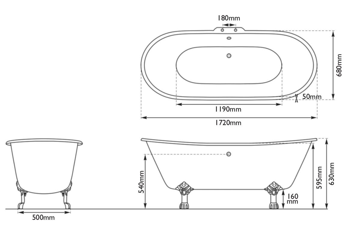 Dimensions Of Hurlingham Prior Single Slipper Cast Iron Bath