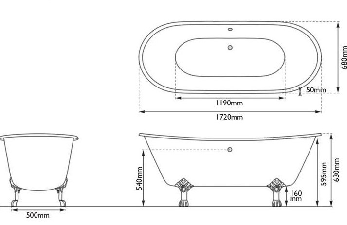 Dimensions Of Hurlingham Prior Single Slipper Cast Iron Bath Without Tap Holes