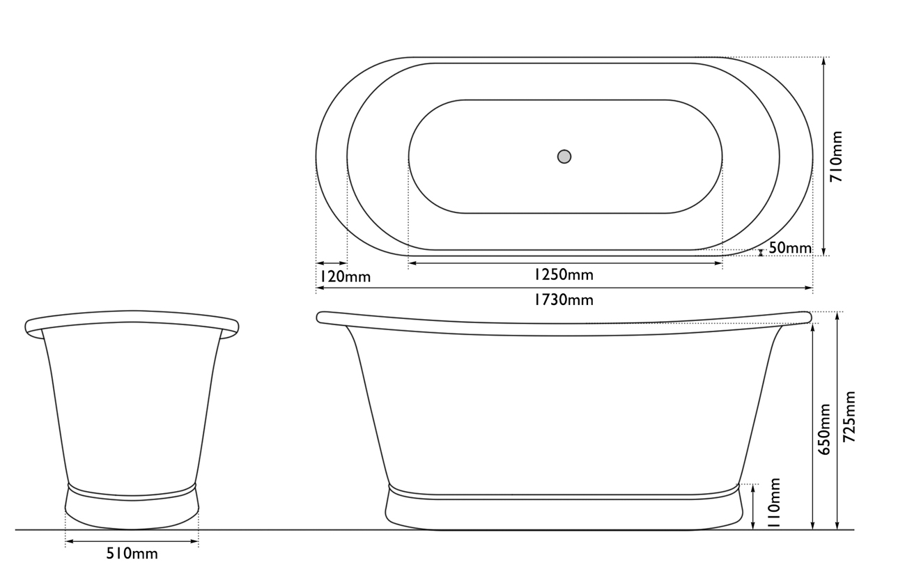 Dimensions Of Copper Bateau 1500mm Bath
