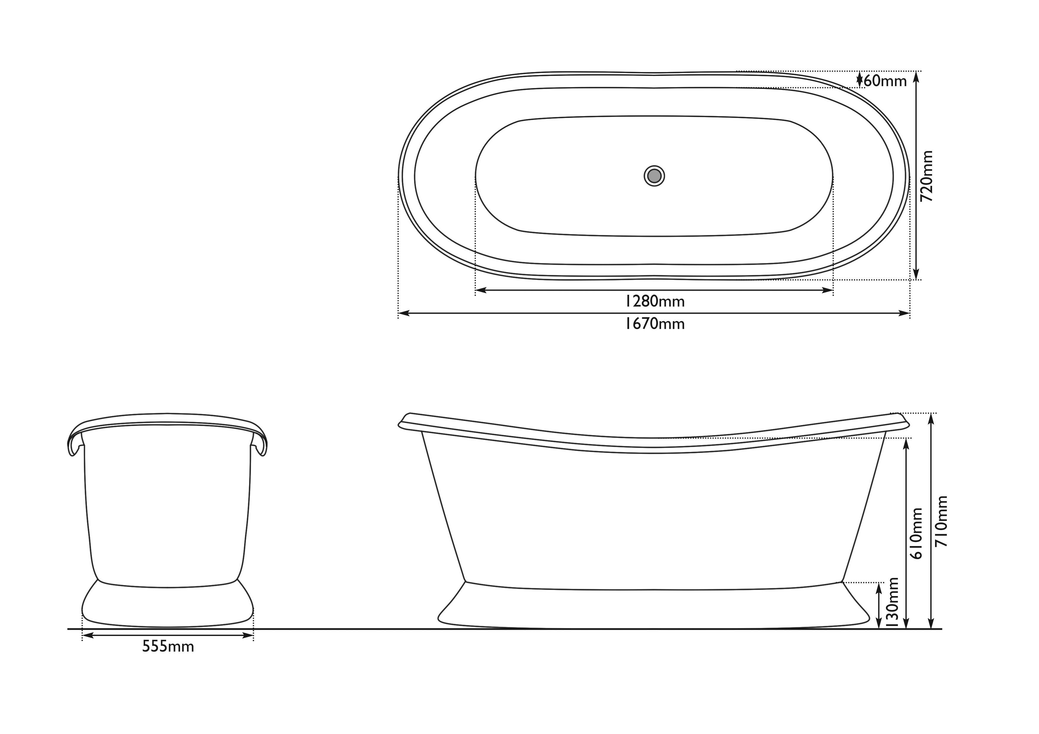 Dimensions Of Copper Bateau Bath