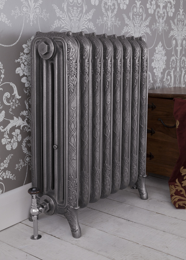 Satin Polished Cast Iron 4 Column Ribbon Radiator made by Carron and Sold Worldwide by UKAA