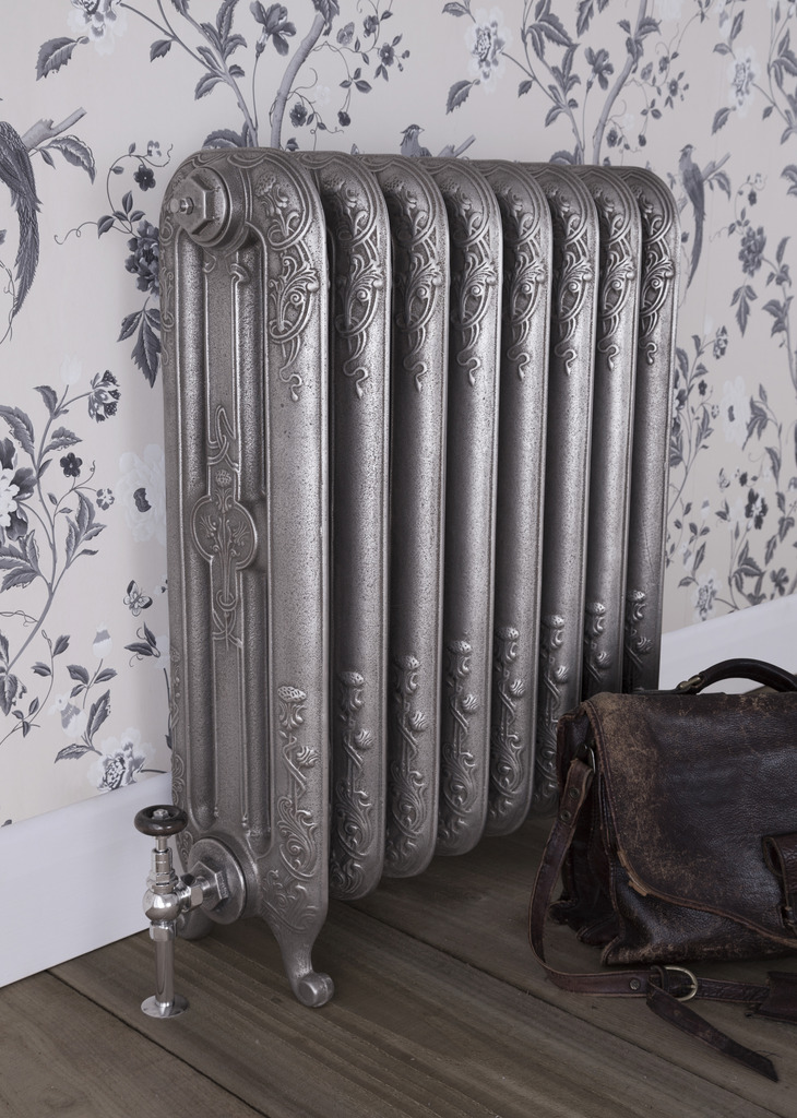 Satin Polished Cast Iron Thistle Radiator made by Carron and Sold Worldwide by UKAA