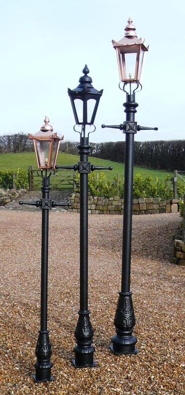 Reproduction Victorian style cast iron lamp posts in small medium and large sizes available for a next day delivery